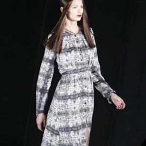 Theyskens' Theory Abstract Print 100% Silk Dress